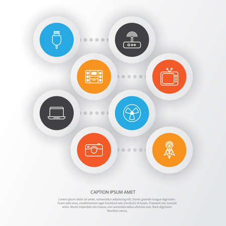 Gadget Icons Set. Collection Of Wireless Router, Photo Apparatus, Boombox And Other Elements