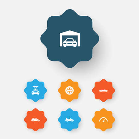 Automobile Icons Set. Collection Of Wheel, Transport Cleaning, Chronometer And Other Elements