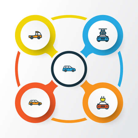 sedan: Auto Colorful Outline Icons Set. Collection Of Sedan, Washing, Electric And Other Elements