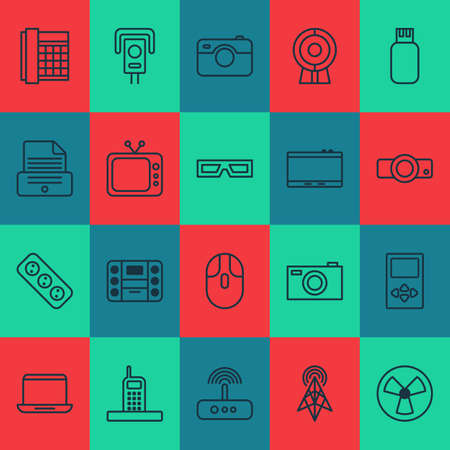 Hardware Icons Set. Collection Of Boombox, Printer, Digital Camera And Other Elements Illustration