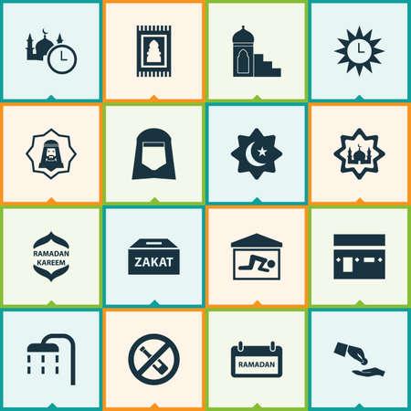Ramadan Icons Set. Verzameling van Namaz, kamer, Hijab en andere elementen