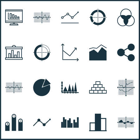 Set Of Graphs, Diagrams And Statistics Icons. Premium Quality Symbol Collection. Icons Can Be Used For Web, App And UI Design. Imagens - 87981067