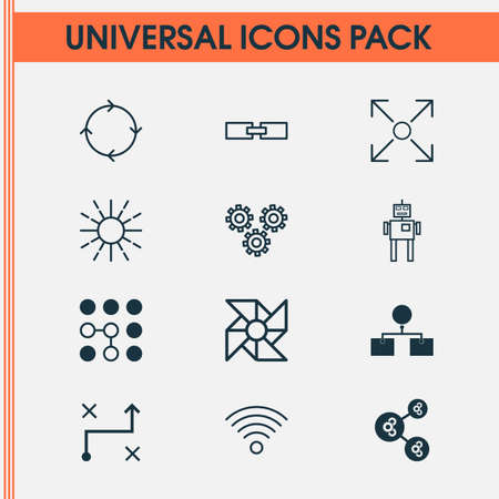 Robotics Icons Set. Collection Of Analysis Diagram, Computing Problems, Mechanism Parts And Other Elements. Also Includes Symbols Such As Cogwheels, Conditional, Linked. Illustration
