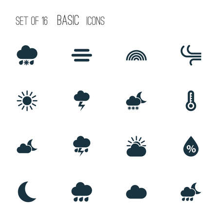 Weather Icons Set. Collection Of Breeze, Haze, Wet And Other Elements. Also Includes Symbols Such As Sun, Light, Breeze. 矢量图像