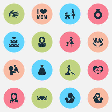 Mothers Day Icon Design Concept Set Of 16 Such Elements As Stroller
