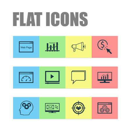 Advertising Icons Set. Collection Of Intellectual Process, Video Player, Newsletter And Other Elements. Also Includes Symbols Such As Comprehensive, Target, Click.