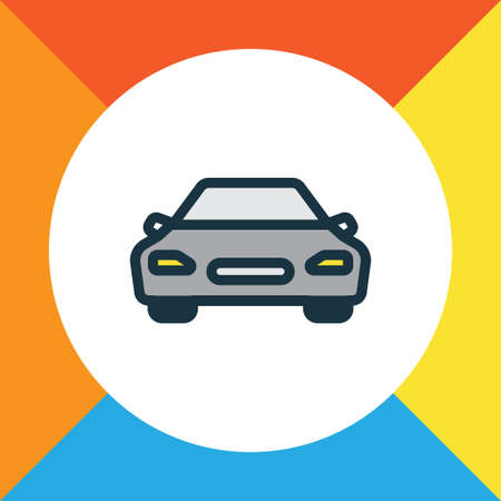 Car Colorful Outline Symbol. Premium Quality Isolated Automobile Element In Trendy Style. Illustration