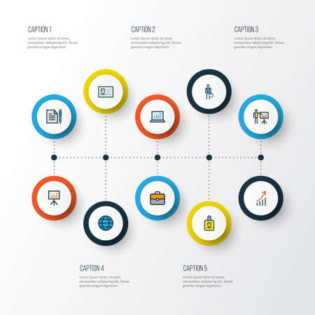 Job colorful outline icons set. Collection of billboard presentation, worker, id badge and other elements.