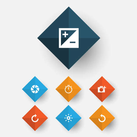 Picture icons set. Collection of chronometer, focus, wb Iridescent and other elements. Illustration