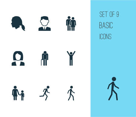 Human icons set. Collection of beloveds, gentlewoman head, jogging and other elements. Illustration