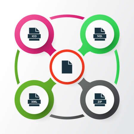 ドキュメントのアイコンを設定します。Xml、アーカイブ、データベース、その他の要素のコレクションです。  イラスト・ベクター素材
