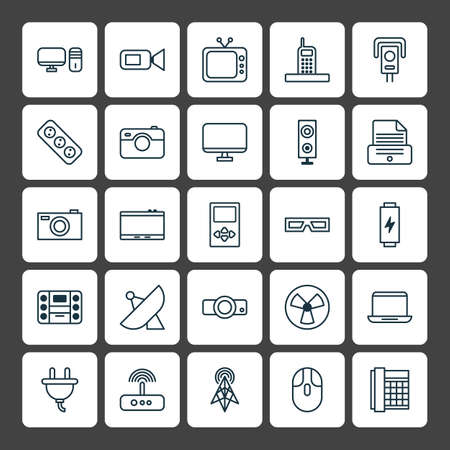 Device icons set. Collection of extension cord, socket, spectacles and other wlements.