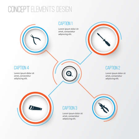 Repair icons set. Collection of turn-screw, meter, clamp and other elements. Illustration