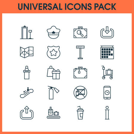 Traveling icons set. Collection of pilot Hat, briefcase scanner, suitcase and other elements.