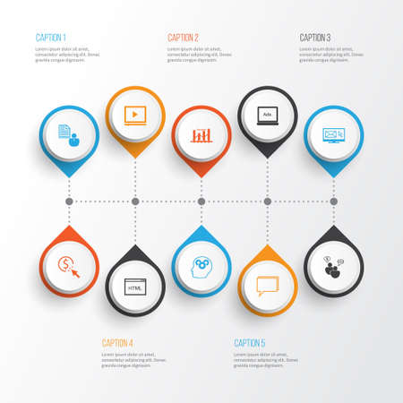 SEO icons set. Collection of conference, PPC, newsletter =and other elements.