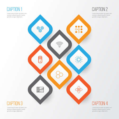Learning icons set. Collection of mechanism parts, information components, atomic CPU and other elements. Illustration