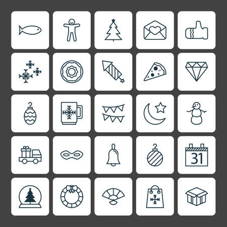Vakantie pictogrammen instellen. Verzameling van de winter, gesneden pizza, datum en andere elementen. Stock Illustratie