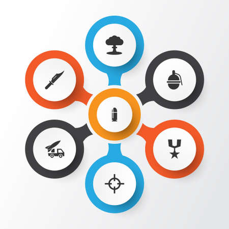 Combat icons set. Collection of atom, slug, ordnance and other elements.