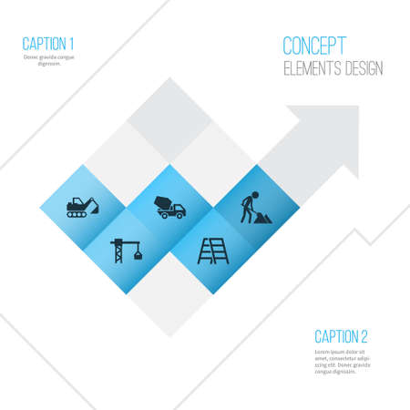 Construction icons set. Collection of cement vehicle, lifting hook, digger and other elements. Illustration