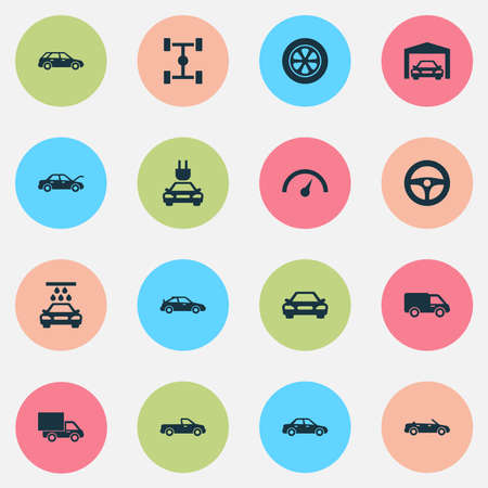 Auto icons set. Collection of plug, fixing, drive control and other elements.