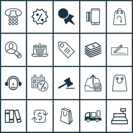 Ecommerce Icons Set. Collection Of Dollar Banknote, Gavel, Bookshelf And Other Elements. Also Includes Symbols Such As Truck, Call, Paper.