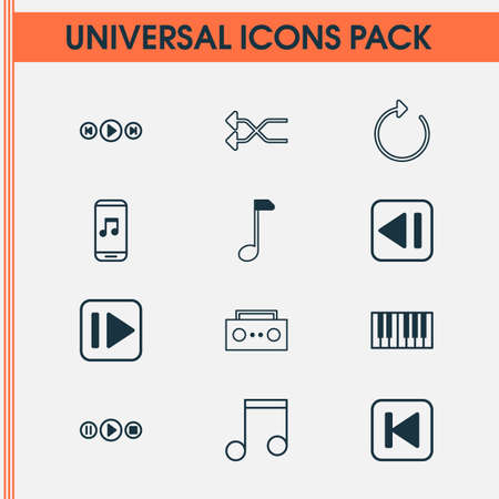 Audio Icons Set. Collection Of Song UI, Broadcast, Randomize Elements. Also Includes Symbols Such As Mobile, Play, Forward. Illustration