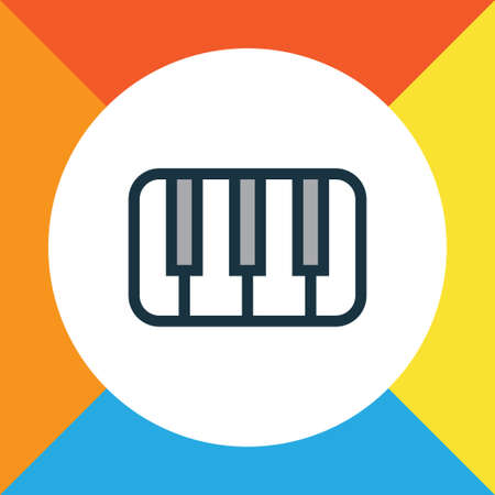 Piano Colorful Outline Symbol. Premium Quality Isolated Keys Element In Trendy Style.
