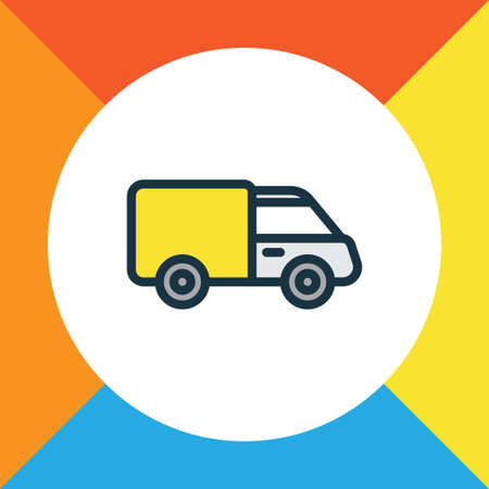 Van Colorful Outline Symbol. Premium Quality Isolated Truck Element In Trendy Style.