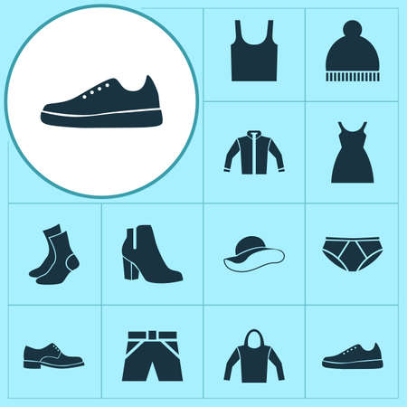Clothes Icons Set. Collection Of Elegance, Sneakers, Elegant Headgear And Other Elements. Also Includes Symbols Such As Headgear, Hoodie, Garment.