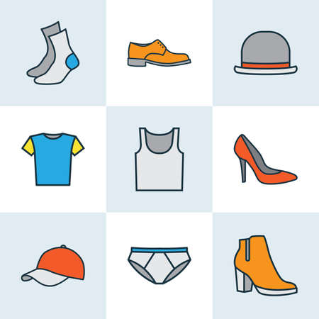 Garment Colorful Outline Icons Set. Collection Of Underwear, Panama, Heels And Other Elements. Also Includes Symbols Such As Panties, Blouse, Man. Çizim