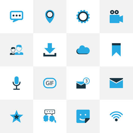 Media Colorful Icons Set. Collection Of Dialog, Wifi, Location And Other Elements. Also Includes Symbols Such As Pennant, Location, Talking.