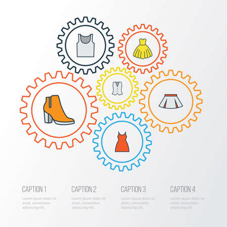 Clothes Colorful Outline Icons Set. Collection Of Female Boots, Evening Gown, Vest And Other Elements. Also Includes Symbols Such As Boots, Underwear, Feminine.