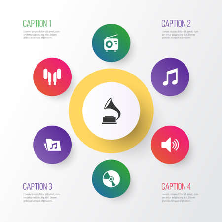 fm: Multimedia Icons Set. Collection Of Cd, Tuner, Earmuff And Other Elements Illustration
