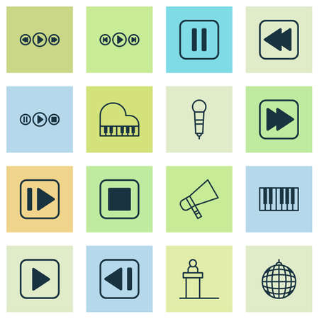 Multimedia Icons Set. Collection Of Audio Buttons, Song UI, Following Music And Other Elements Illustration