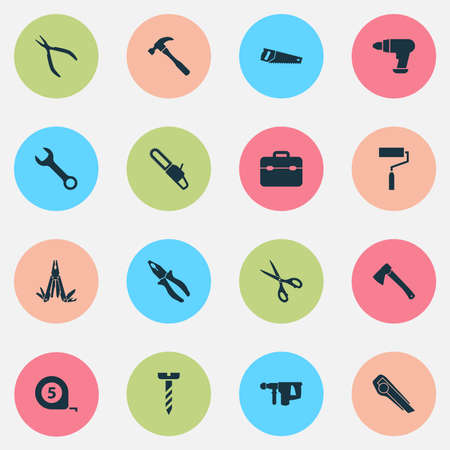 Handtools Icons Set. Collection Of Handsaw, Cutter, Shears Elements Illustration