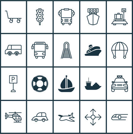 Transportation Icons Set Illustration