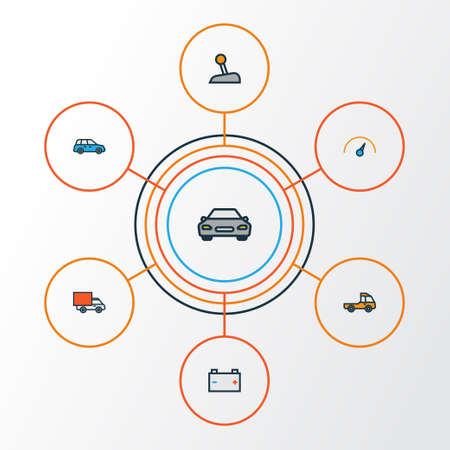 Automobile Colorful Outline Icons Set