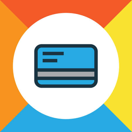 Debit Card Colorful Outline Symbol. Premium Quality Isolated Bank Cash Element In Trendy Style.
