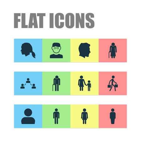 Human Icons Set. Collection Of Old Woman, Scientist, User And Other Elements. Also Includes Symbols Such As Network, Female, Man.