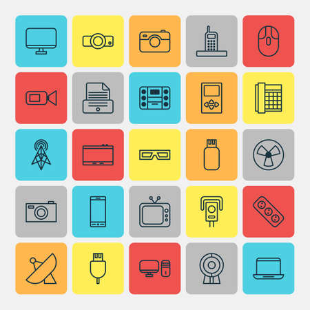Device Icons Set. Collection Of Camcorder, Notebook, Digital Camera And Other Elements