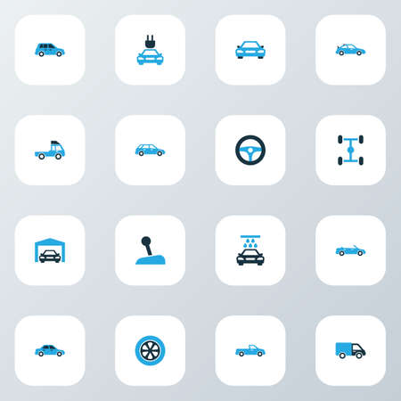 shaft: Automobile Colorful Icons Set. Collection Of Sedan, Gear Lever, Chassis And Other Elements. Also Includes Symbols Such As Lever, Carriage, Wheelbase. Illustration