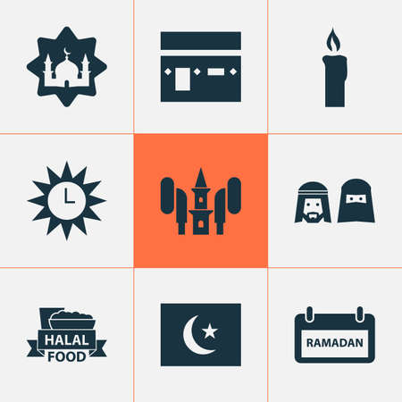 Holiday Icons Set. Collection Of Kareem, Food, Clock And Other Elements. Also Includes Symbols Such As Azan, Flag, Muslims. Vettoriali