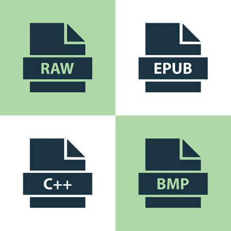 txt: File Icons Set. Collection Of Bitmap, Shape, Electronic Publication And Other Elements