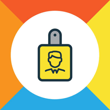 Premium Quality Isolated Identification Document Element In Trendy Style.  Id Badge Colorful Outline Symbol.