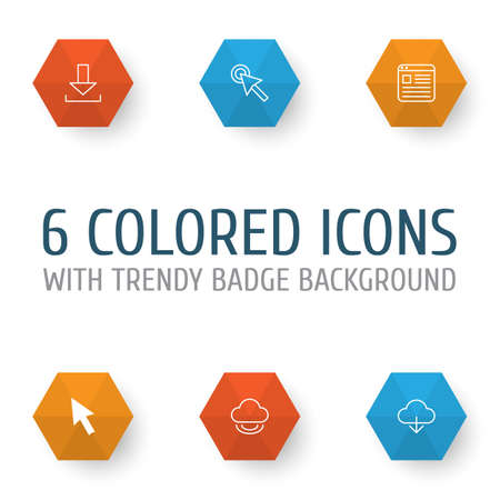 Connection Icons Set. Collection Of Cursor, Mouse, Download And Other Elements