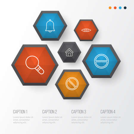 Web Icons Set. Collection Of Obstacle, Bell, Glance And Other Elements