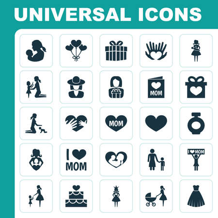 Mothers Day Icon Design Concept. Set Of 25 Such Elements As Invitation, Stroller And Playing Banco de Imagens