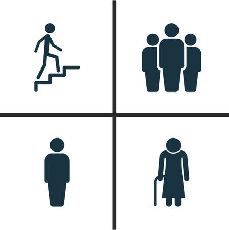 People icons set. Collection of ladder, old woman, member and other elements.