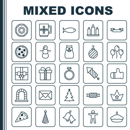 Happy Icons Set. Collection Of Mitten, Shortcake, Birthday Hat And Other Elements