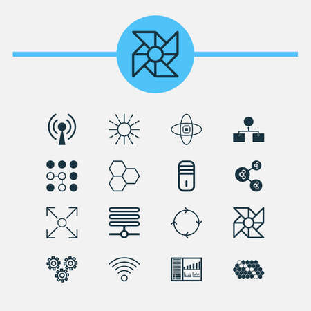 Learning Icons Set. Collection Of Algorithm Illustration, Analysis Diagram, Information Components And Other Elements. Also Includes Symbols Such As Algorithm, Network, Brightness.